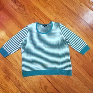 Lands' End Teal and White Striped Sweater